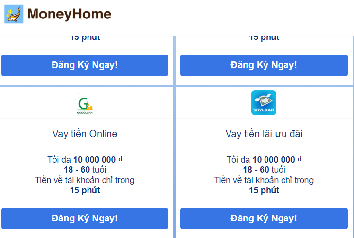 Moneyhome vay tiền nhanh